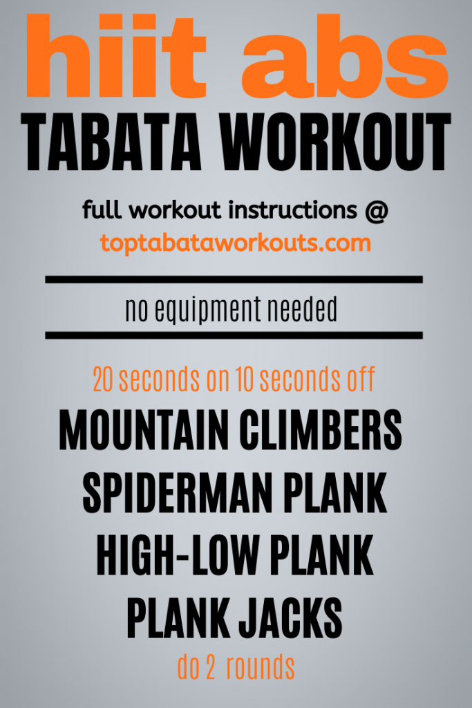 Strengthen and tighten your core with this quick four minute Tabata abs workout plan. Tabata Abs plan.