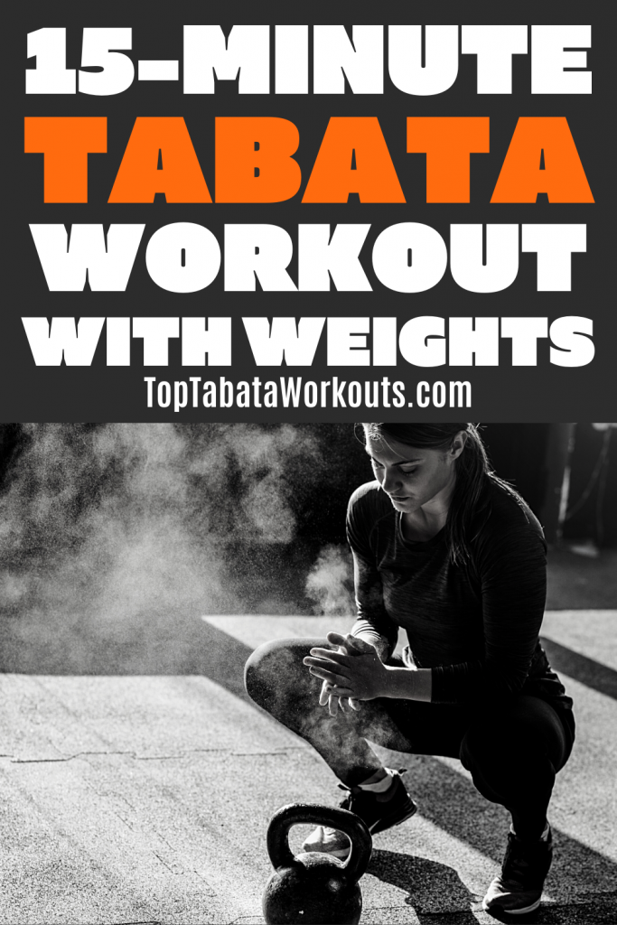 15 minute full body Tabata workout wit weighhts to burn fat and get fit quickly. #tabata #weights #hiit
