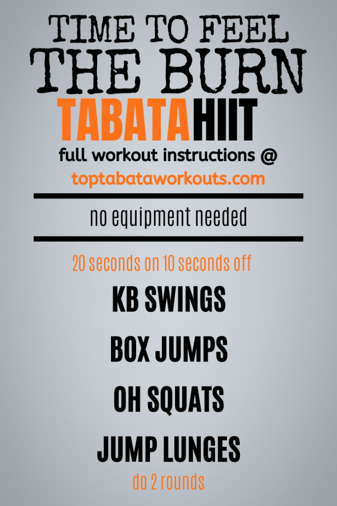 Let those legs feel the burn! This crossfit style Tabata HIIT workout will get your legs and core working hard as you work through this hard Tabata workout.